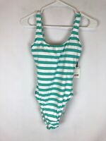 Polo Ralph Lauren Women's White Green Striped Lace Back One-Piece Size M