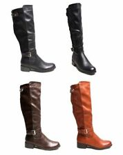Block Synthetic Leather Knee High Boots for Women
