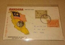 Sultan Perak Portrait 1957 Merdeka Malaya Tunku Abdul Rahman stamp 2v FDC