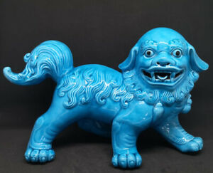 Antique Chinese Turquoise Glazed Fu Dog / Foo Dog