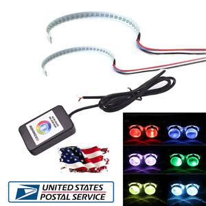 2PC 15-SMD RGB LED Demon Eye Headlight Halo Ring Projectors Bluetooth Control