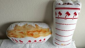 In-N-Out Burger Collectible Pillows Fries & Drink Pillows 2 Piece set. EUC Nice!