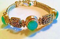 Sterling Silver Tulang Naga Turquoise Bali Artisan Toggle Bracelet