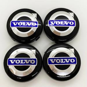 4X64MM Volvo BLACK & BLUE Rim Wheel Center Replacement Caps Emblem Logo 3546923