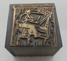 Vintage Printing Letterpress Printers Block Man Sitting in Chair Drafting Table
