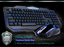 NUOVO delog GM1 Blu Retroilluminato Gaming Multimedia Keyboard & 2400DPI gamer Mouse Set