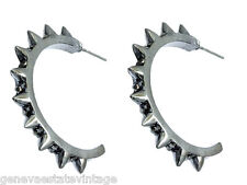 "Gothic Punk Gun Metal Grey Spiked half Hoop Crystal Bling Earrings 1 1/4"" Hoop"