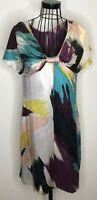 LADIES TED BAKER 100% SILK COLOUFUL CAPE SLEEVES SHIFT BOW DRESS SIZE 3 UK 12
