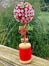 OOAK Seamstress Button Tree Ball Topiary Spool Thread Scissors Tape Measure ❤️m9