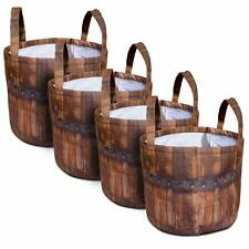Grow King 4-Pack 7 Gallon Plant Grow Bags with Handles Barrel Look Design NEW