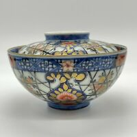 Antique Japanese Old Imari Ware Covered Bowl Hand Painted, 19th Edo Period