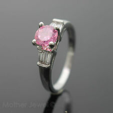 6.5MM ROUND PINK OCTOBER BIRTHDAY ENGAGEMENT STERLING SILVER PLATED RING SIZE 9