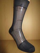 Thin sheer ribbed nylon socks. Solid cuff heel and toe. Mid calf. BLACK