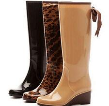 Womens Lady Wedges Warm Knee High Rain Boots Skid Waterproof Zip Bowknot 2018