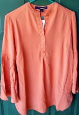 NWT Denim 24/7 women's orange blouse with bell sleeves size 12W