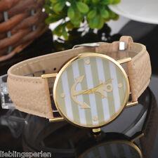 LP:Damenuhr Armbanduhr Quarzuhr Analog Anker Streifen Lederband Mode Beige #1