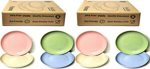 Unbreakable 8 Dinner Plates 23cm Tableware Round Dishes Unbreakable bpa free