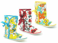 LADIES WOMENS GIRL NEW CANVAS FLORAL TIE UP ANKLE  BOOTS PUMPS SHOES SIZE