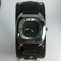 Fossil Mens JR 8712 BIGTIC Brown Wide Leather Cuff Band Analog Watch