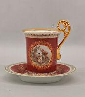 99840804 Porcellana Vitrinen-Tasse Tazza di Moka Turingia Scena Watteau Rot Oro