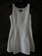 Pristine used VERSACE White structured textured fit and flare skater dress 46 US