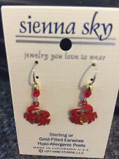 NWT Sienna Sky Earrings Red Crab Hypo-allergenic Posts USA