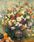 Floral Home Decor Art CANVAS Print Chrysanthemums Pierre Auguste Renoir 8x10