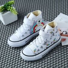 Canvas Children's Shoes Cartoon Graffiti Sneakers Rainbow Casual Shoes For Girls