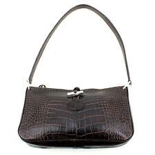 Authentic Longchamp Real Leather Baguette Medium Size Shoulder Bag in Brown