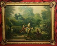 Antique Oil Painting On Canvas Thorwald Madsen (1889-1960) American.french Scene
