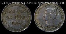 ÎLE de la Réunion RARE 50 Cent. (Bon Pour) 1896