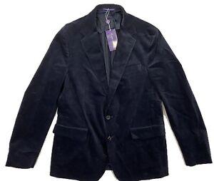 $1,700 Ralph Lauren Purple Label Blue Corduroy Blazer EU 54, US 44 Made in Italy