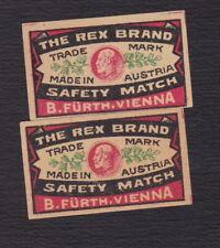 2 Ancienne  petite étiquette allumettes  Autriche BN122291 The Rex Brand Homme
