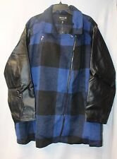 NEW WOMENS PLUS SIZE 4X 26W 28W BLUE & BLACK PLAID HEAVY WINTER COAT JACKET