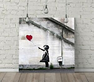 BANKSY BALLOON GIRL SQUARE CANVAS WALL ART FLOAT EFFECT /FRAME/ POSTER PRINT-RED