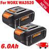 2X 6.0Ah WA3578 WA3520 WA3525 WA3575 Li-ion Battery For Worx Cordless Power Tool
