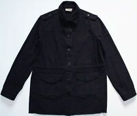 Hush Military Longline Cotton Button Jacket - UK Size 8 - Navy Blue Womens Coat
