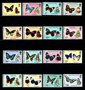 Belize stamps #345 - 360, MNHOG, XFS, topical, Butterflies, full set, SCV $68.60
