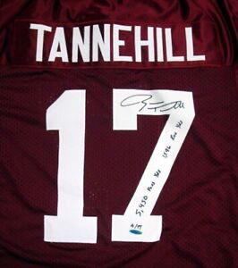 TEXAS A&M RYAN TANNEHILL AUTOGRAPHED MAROON JERSEY WITH STATS #/17 UDA 25962