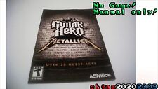 Guitar Hero Metallica  PS2 manual only! No game