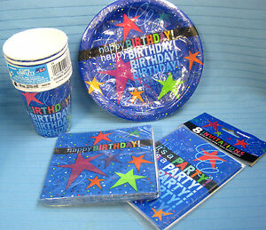Happy Birthday Party Lot 8ct Cups Plates Napkins Invitations All Ages Star Blue
