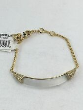 NEW Alexis Bittar SILVER WHITE Lucite Curb ID Crystal Chain Link Bracelet $145