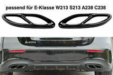 Set Schwarz Chrom Edelstahl Auspuffblende Abdeckung Mercedes W213 S213 C238 A2