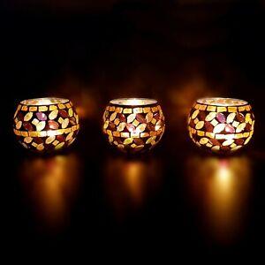 Handmade Glass Turkish Moroccan Mosaic Candle Holder Tea Light Votive Golden
