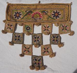 India Toran Decor Hand Embroidery Pelmet Valance Topper Window Ethnic Art
