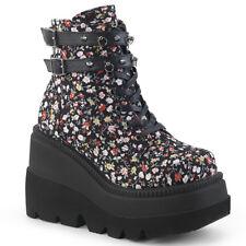 "Demonia 4.5"" Platform Lace Up Black Floral Print Ankle Boots 6 7 8 9 10 11 12"