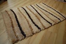 Tapis poil long ambato-shaggy marron beige rayé 120x170cm
