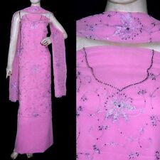 PINK MICRO CHIFFON INDIAN SALWAR KAMEEZ SUIT DRESS MATERIAL HEVY EMBR LADIES DEN
