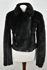 TOPSHOP Black Faux Fur Jacket size Uk 12