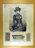 Original Old Antique Print Ref.210 1884 Ladies Fashion Dress Hat Corsage French